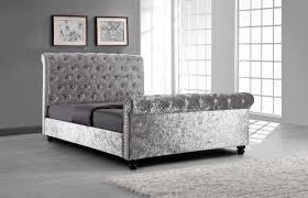 Crushed Velvet Bed Silver Crushed Velvet Upholstered Sleigh Bed Frame With Diamond