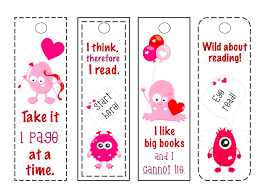 printable bookmarks for readers free printable bookmarks funny monster valentine s day bookmarks