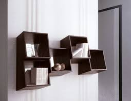 Wall Bookshelves Contemporary Chosolate Brown Wooden Wall Bookcase For Cd Storage