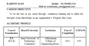 Best Resume Format For Electronics Engineers by Fresher Electronics Engineering Student Resume Format Electronics