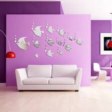 popular wall sticker mirrors buy cheap wall sticker mirrors lots lovely fish modern room decal art wall paper home decor mirror wall stickers china