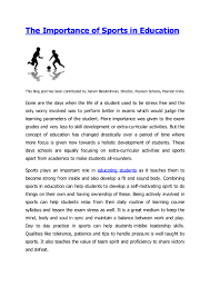 Education Essay Example The Importance Of Sports In Education