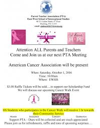 pta treasurer report template news and meeting announcements east west school of international october american cancer flyer