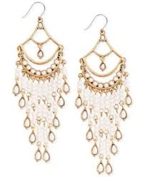 earrings brand lucky brand gold tone white bead chandelier earrings fashion
