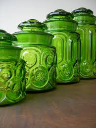 Retro Kitchen Canisters by Vintage Green Glass Moon And Stars Canister Set Vintage Green