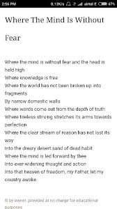 what is the summary of the poem where the mind is without fear