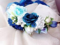 wedding flowers blue and white blue white flower crown wedding flower crown bridal flower crown