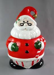 santa claus cookie jar painted ceramic winter