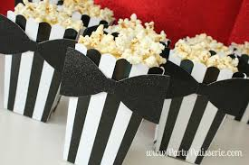 black tie party favors black white striped popcorn boxes with black by partypatisserie