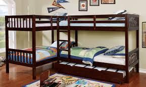 Bunk Bed L Shape L Shaped Wood Bunk Bed In Walnut