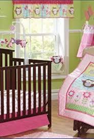 pink owl bird 7pcs crib set baby bedding set crib bedding set