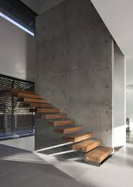 modern solid wood floating staircase design come with clear glass