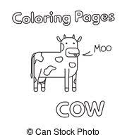 farm cow cartoon for coloring book black and white cartoon