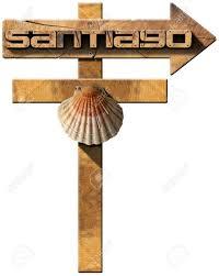 santiago de compostela camino pilgrimage wooden sign of santiago de compostela camino de