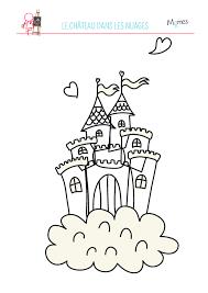 coloriage du château dans les nuages coloriage de le nuage et