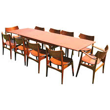Mid Century Dining Room Chairs by Teak Danish Modern Dining Room Table With Ten Chairs By Erik Buck