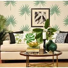 stencils for home decor palmetto leaf wall art stencil tropical wall design diy home