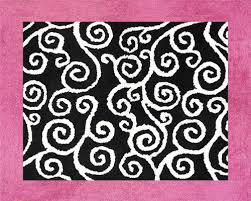 pink black u0026 white scroll rug kids soft accent floor area or