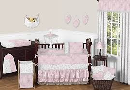 sweet jojo designs bedding sets pink gray and white shabby chic