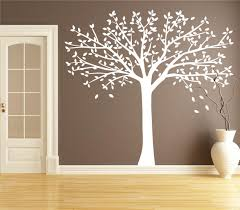 Brown Tree Wall Decal Nursery White Tree Decal Nursery Large Fall Tree Sticker For Living Room