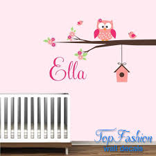 personalized name owl wall decal with birds birdhouse children