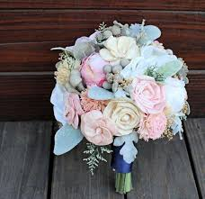 wood flowers keepsake bridal bouquet silk flowers peony anemone sola