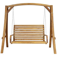 wooden garden swing curved seat buydirect4u