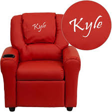 Youth Recliner Chairs Flash Furniture Personalized Vinyl Kids Recliner With Cup Holder