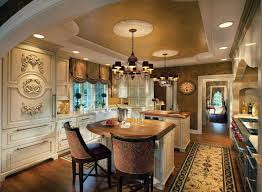 luxury kitchen with chandeliers and ornamental