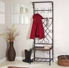Entryway Coat Rack With Bench by Furniture Metal Coat Rack And Entryway Bench With White Cushion