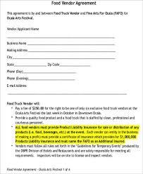 food vendor contract sample vendor contract template 9 free