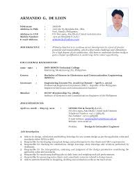 resume format for freshers electronics and communication engineers pdf free download latest resume format sle free resume exle and writing download