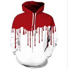 3d blood halloween hoodie for men color block pullover xxxl