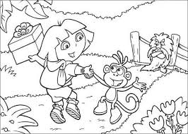 dora and boots color in coloring pages hellokids com