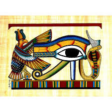 eye of horus hand painted egyptian papyrus