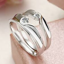 couples rings set images Two half hearts puzzle couple rings set for women and men sapphire jpg
