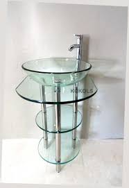 20 Inch Bathroom Vanity With Sink by Pedestal Glass Vanity Stand With Glass Shelves U0026 Faucet Bathroom