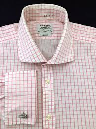 t m lewin white pink check l s french cuff dress shirt men u0027s 17