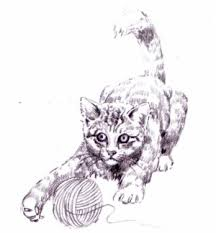 free printable kitten with a ball of yarn illustration