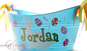 painted easter buckets vinyl decorated easter create and babble