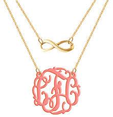 monogram necklace acrylic monogram necklace acrylic infinity made custom initials