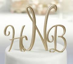 gold script monogram cake topper wedding collectibles