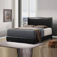 Low Headboard Beds by Crown Mark Furniture Black Faux Leather Wrapped Curved Headboard