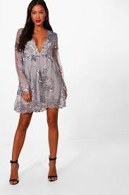 ellie sequin and mesh long sleeve skater dress boohoo