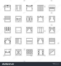 vector line icons drapes window covering stock vector 505174333