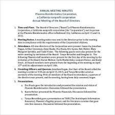 basic annual meeting minutes template templatezet