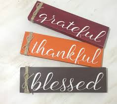 grateful thankful blessed wood sign fall home decor sign
