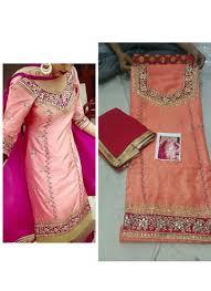color pure dupiun banarsi punjabi salwar suit with chiffon dupatta