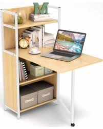 Desk With Computer Storage Bargains On Tribesigns Folding Computer Desk With Bookshelves Pc