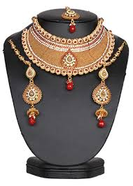 costume jewelry necklace sets images Authentic bridal costume jewelry set in golden background with jpg
